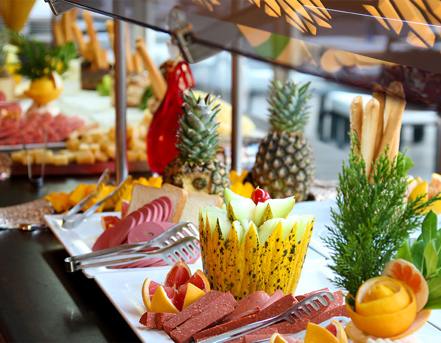 Food on a table as part of an all-inclusive travel package to St. Lucia