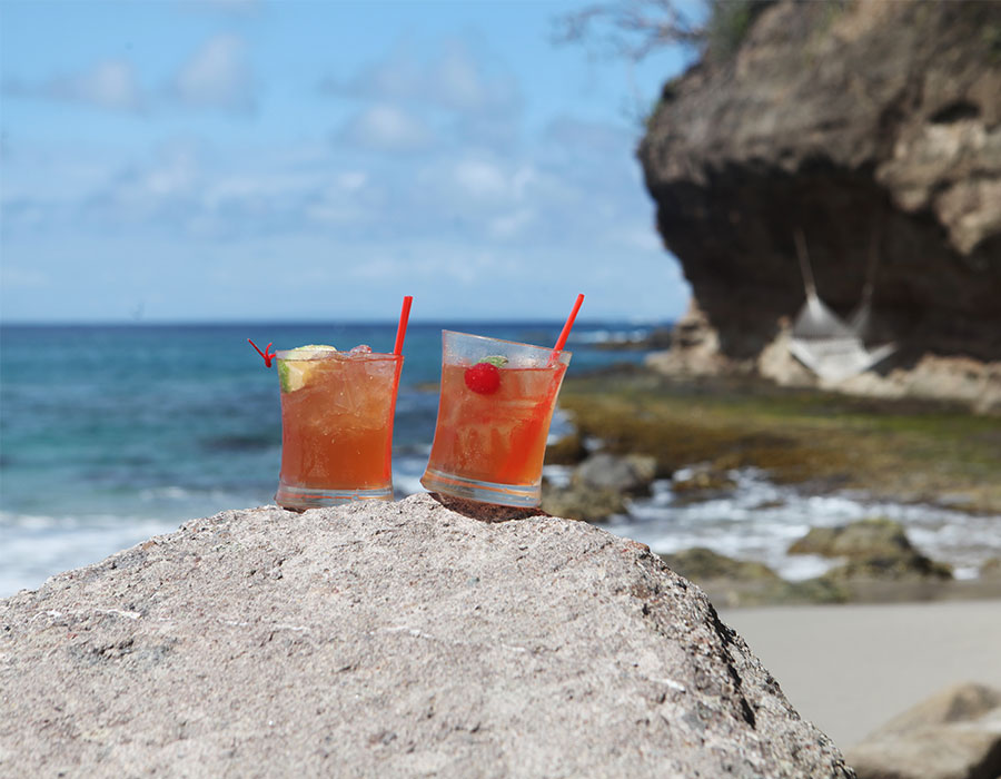Drinks on the beach in St. Lucia