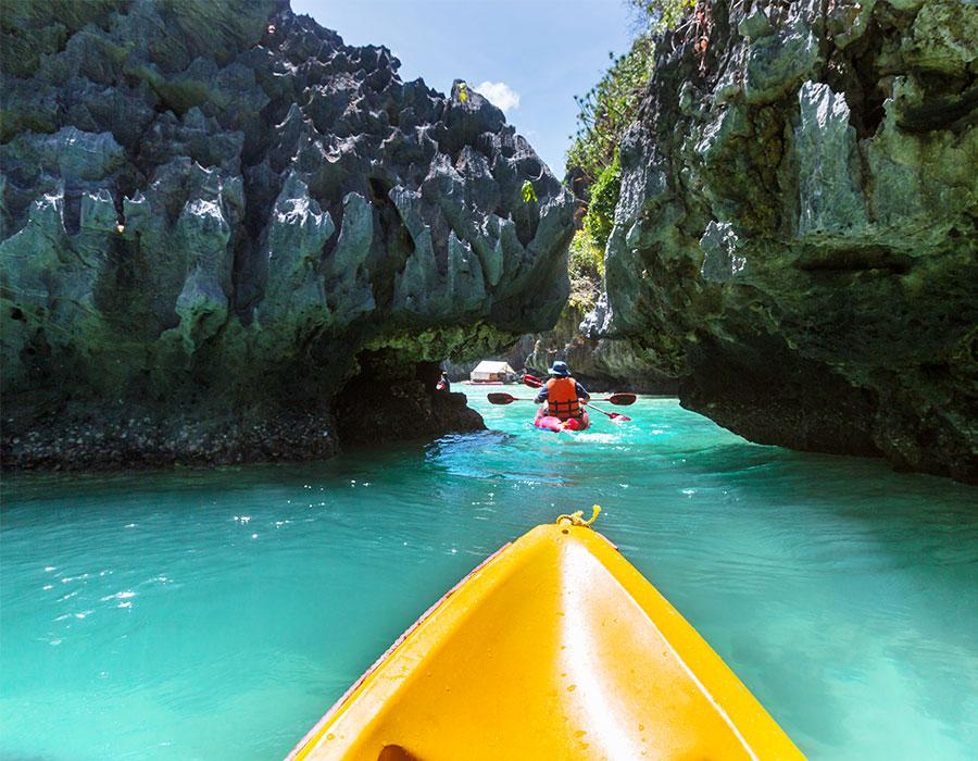 Kayaks on the ocean in Antigua