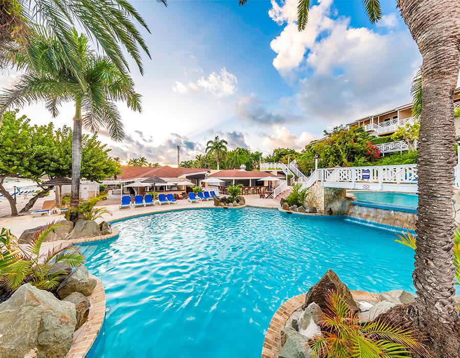 Pool view of Pineapple Beach Club in Antigua