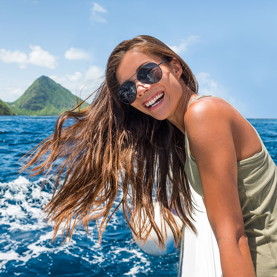 Girl on a boat in St. Lucia