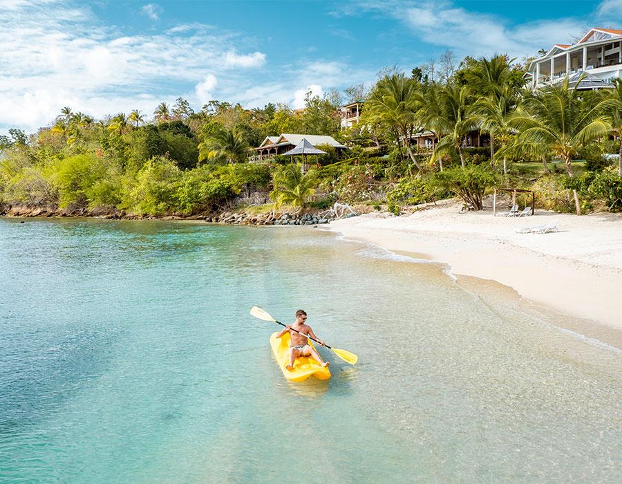 Kayaking on the ocean in St. Lucia