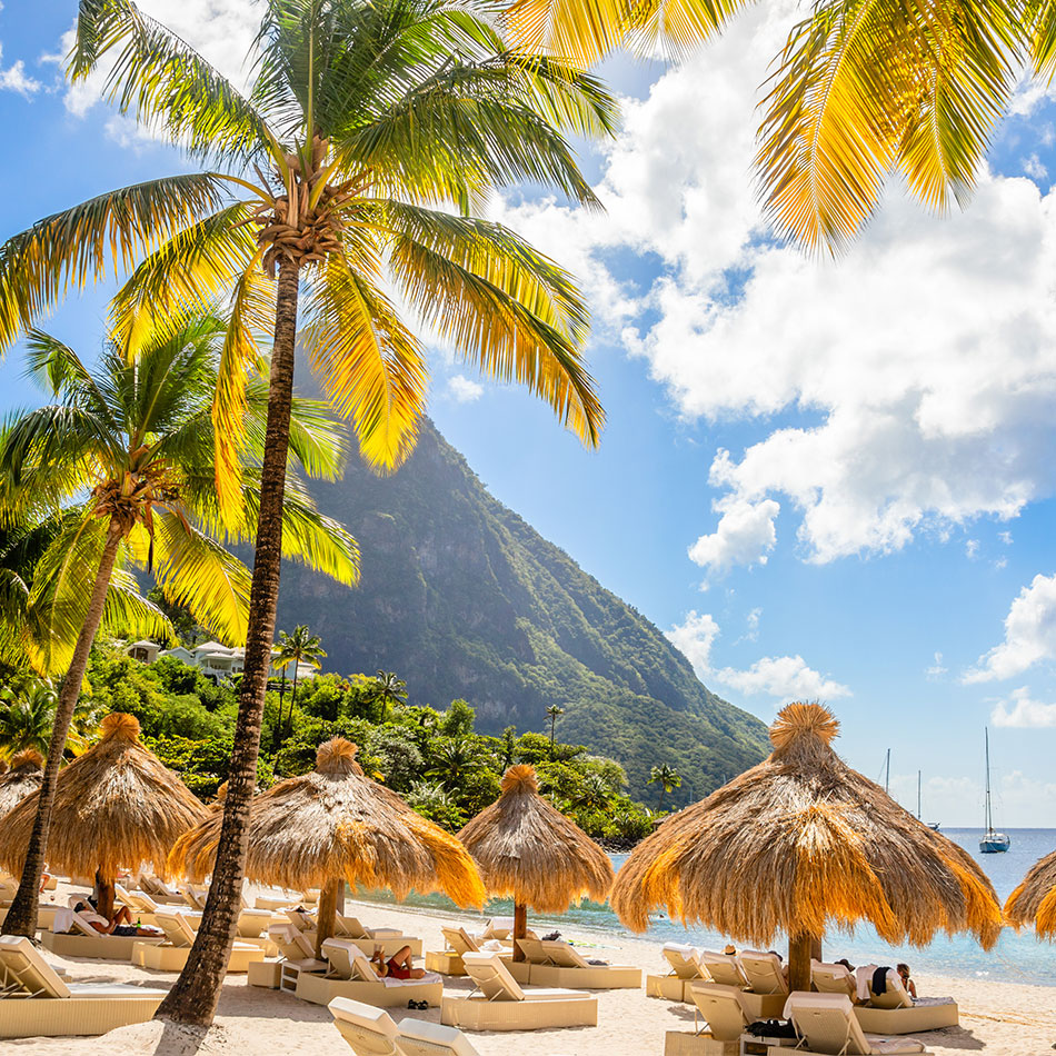 Straw canopies on a beach in St. Lucia