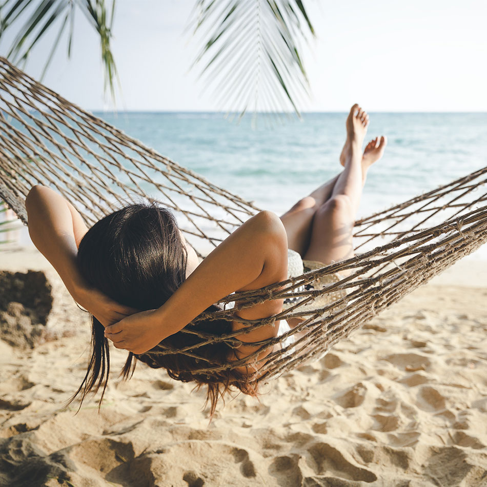 Relaxing in a hammock in the Grand Cayman