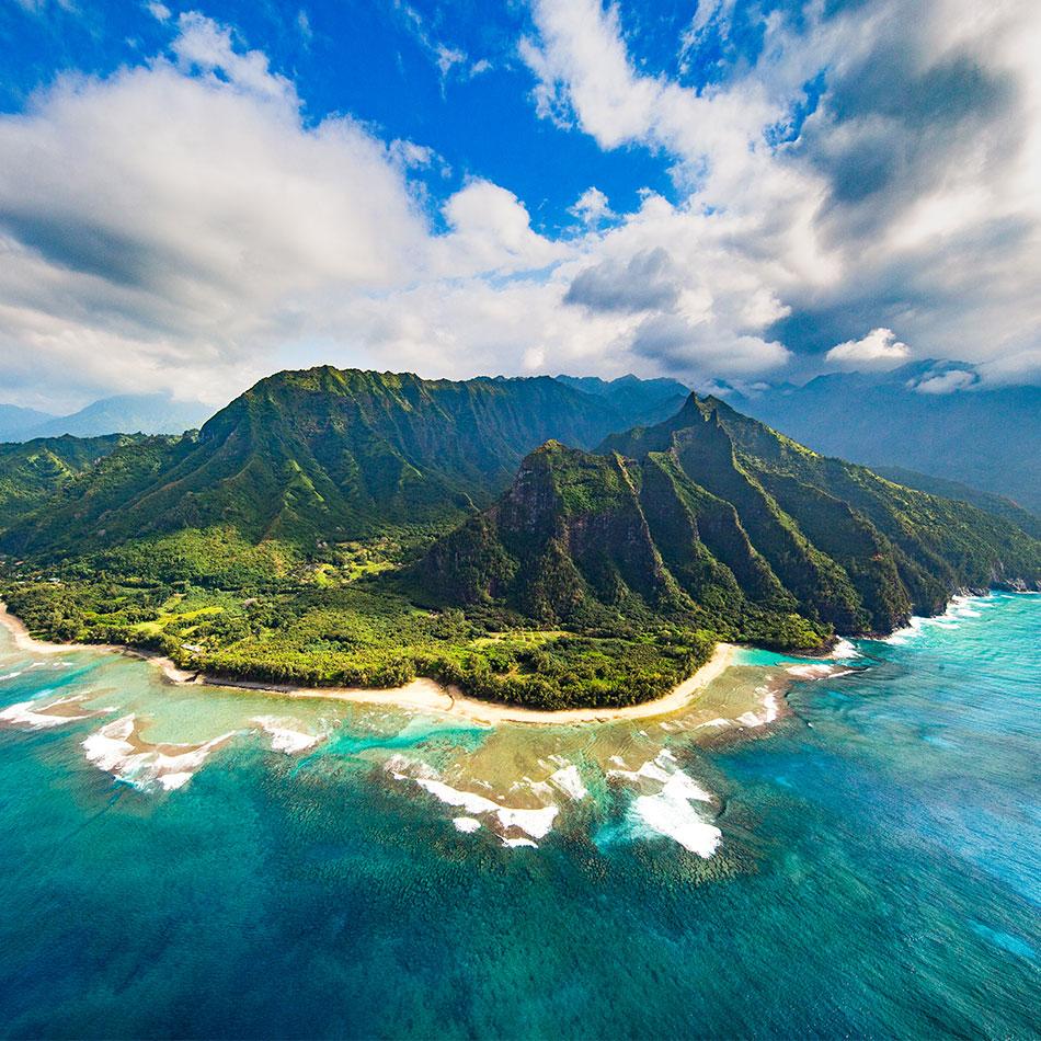 Bird's eye view of the Island of Kauai