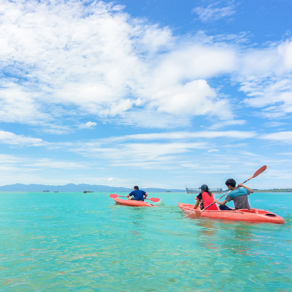 Kayaking off of tropical islands in the Caribbean