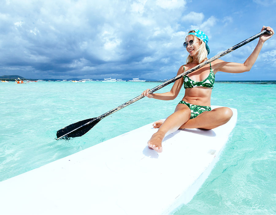 Paddle boarding in the Grand Cayman