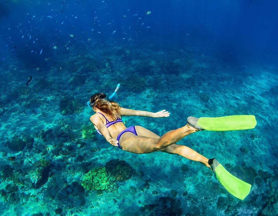 Snorkeling in the ocean in Cozumel