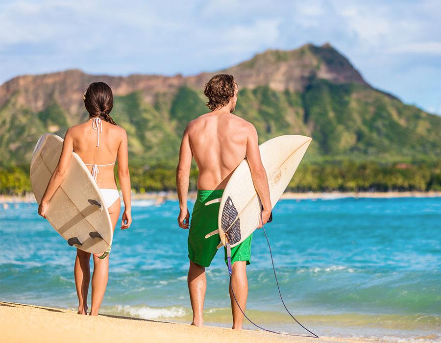 Surfing in Maui, Hawaii