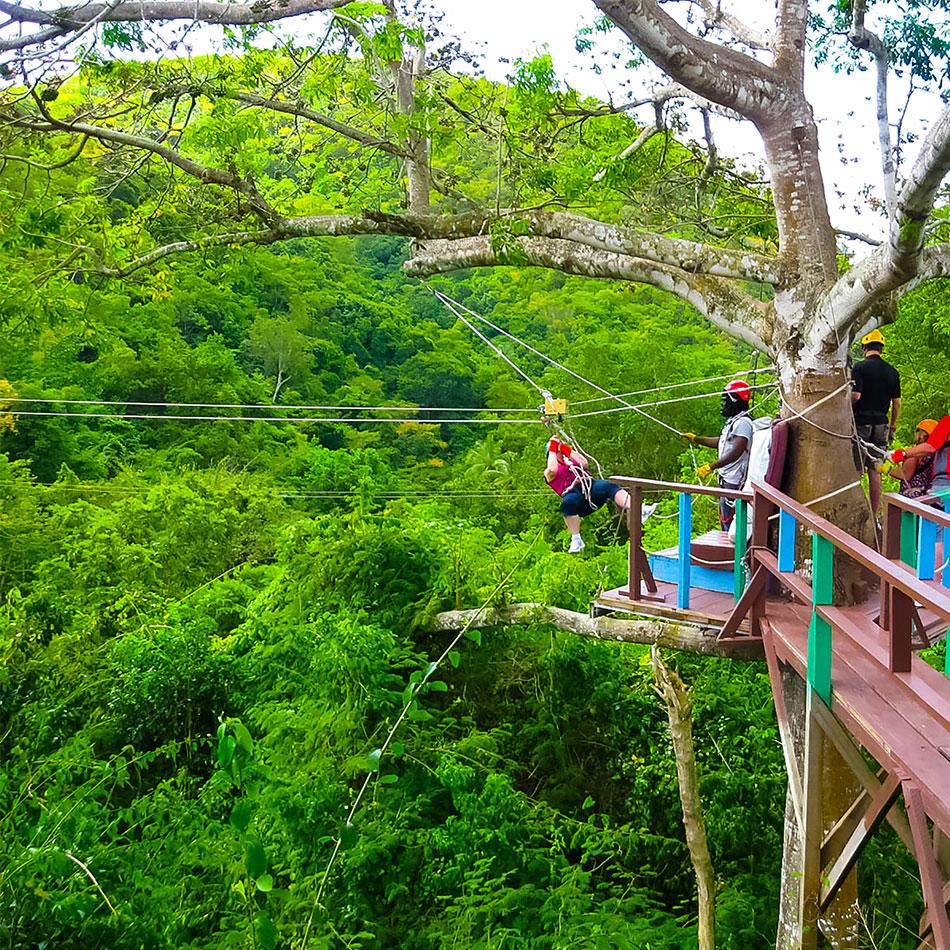 Ziplining in Cozumel Mexico
