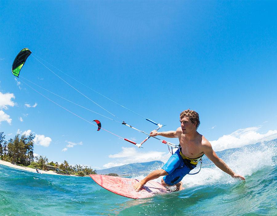 Man kite surfing in the Bahamas