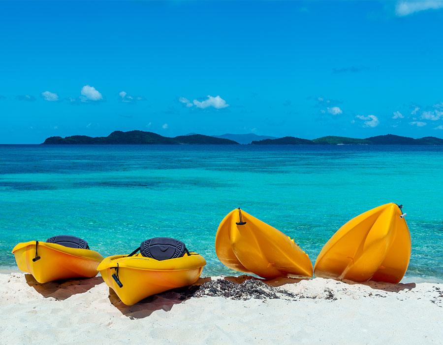Kayaks on the beach in St. Thomas