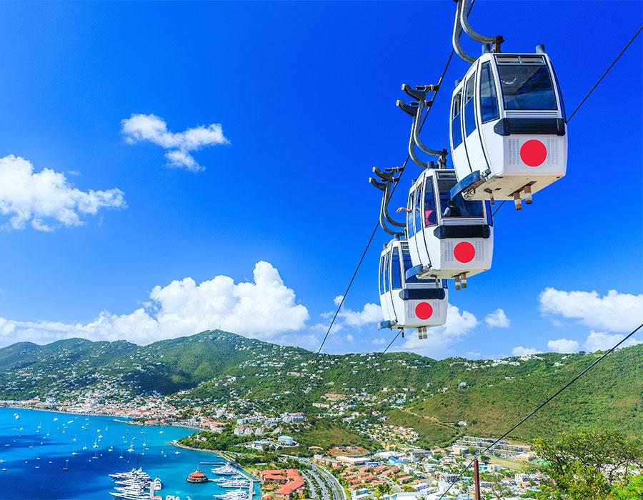 Riding the gondola in St. Thomas